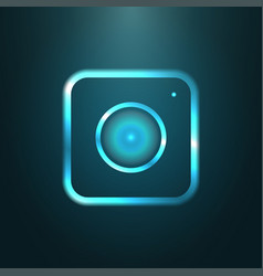 Blue metallic web icon of modern camera vector