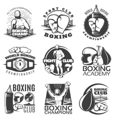 Boxing Black White Emblems vector image