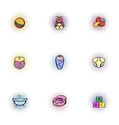 Child icons set pop-art style vector