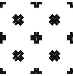Crossroad pattern seamless black vector