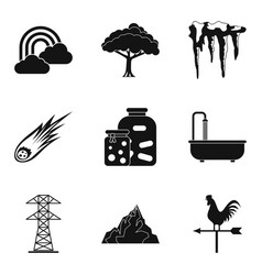 Different season time icon set simple style vector