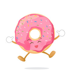 Donut cartoon jumping with happiness isolated on vector