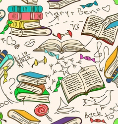 Doodle seamless pattern of books and childrens vector
