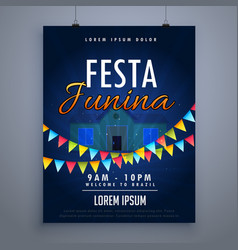 festa junina holiday flyer poster design template vector image