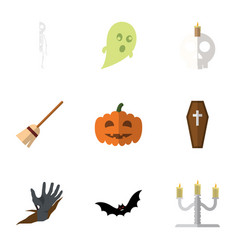 flat icon celebrate set of zombie broom vector image