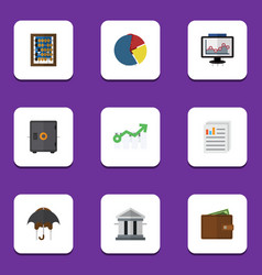 Flat icon finance set of bank document strongbox vector