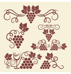 grape vine elements vector image vector image