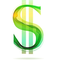 Green abstract dollar sign vector