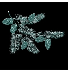 Hand drawn pine tree branch vector