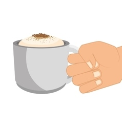Hand human with cup vector