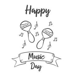 Happy music day card art vector