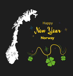 Happy new year theme with map of norway vector