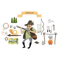 Hunting icon set flat style vector