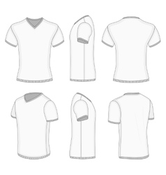 Mens white short sleeve t-shirt v-neck vector image