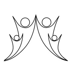 Monochrome abstract contour of happy family vector