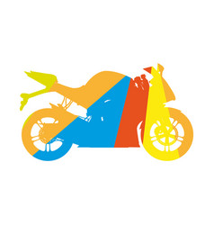 motorcycle colored silhouette sport bike vector image