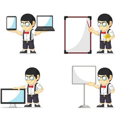 Nerd boy customizable mascot 20 vector