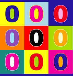 Number 0 sign design template element pop vector