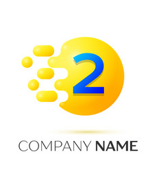 Number two splash logo yellow dots and bubbles vector