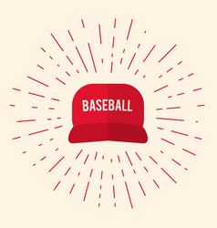 Red baseball cap icon vector