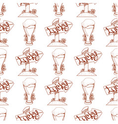 Seamless pattern with a glass of foamy beer and vector