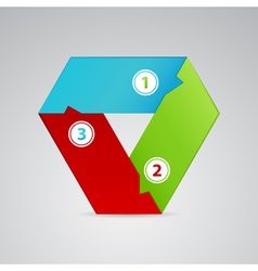 single triangle emblem from three colors vector image vector image