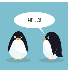 Two ridiculous animation penguins welcome each vector image