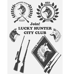 Vintage label with a fox weapons for lucky hunting vector