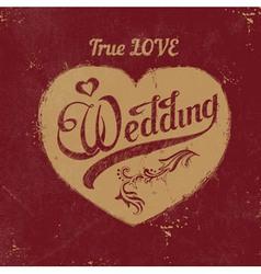 Vintage love heart wedding decoration vector