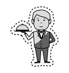 waiter hotel service isolated icon vector image vector image