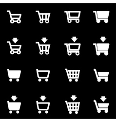 white shopping cart icon set vector image vector image