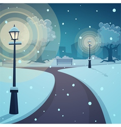 Winter night in the park vector image vector image