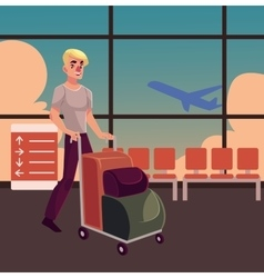 Young man pushing airport trolley with luggage vector image