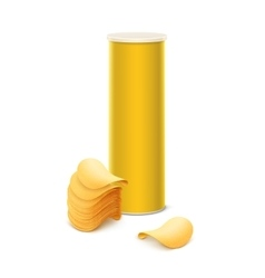 Yellow tin box with stack of potato crispy chips vector