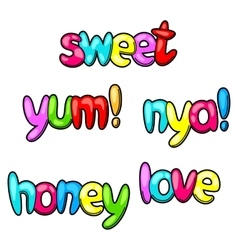 Set of sweet and yum words in cartoon style vector
