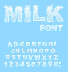 Milk alphabet white liquid letters fluid lettring vector
