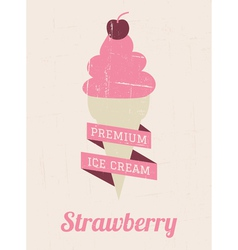 Strawberry ice cream poster vector