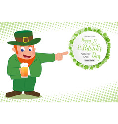 Leprechaun hand point to special offer sale text vector