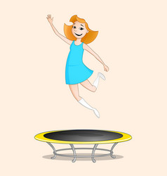 girl jumping on trampoline vector image