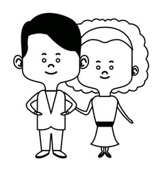 Cute couple bride and groom holding hands lovely vector
