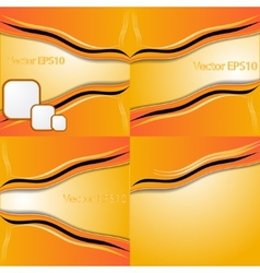 Set of orange and yellow abstract art water colour vector