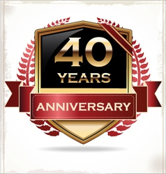 40 years anniversary golden label vector image vector image