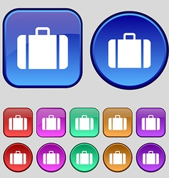 Suitcase icon sign a set of twelve vintage buttons vector
