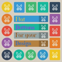 Scissors icon sign set of twenty colored flat vector