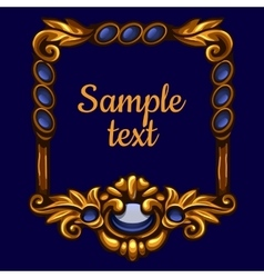 Golden frame with text on a blue background vector