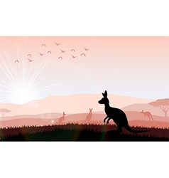 Silhouette a kangaroo the feeding vector