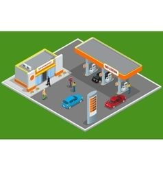 Gas station 3d isometric gas station concept gas vector