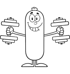 Weightlifting sausage cartoon vector
