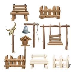 Big set of wooden objects design ranch village vector