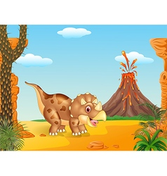 Cartoon triceratops three horned dinosaur vector